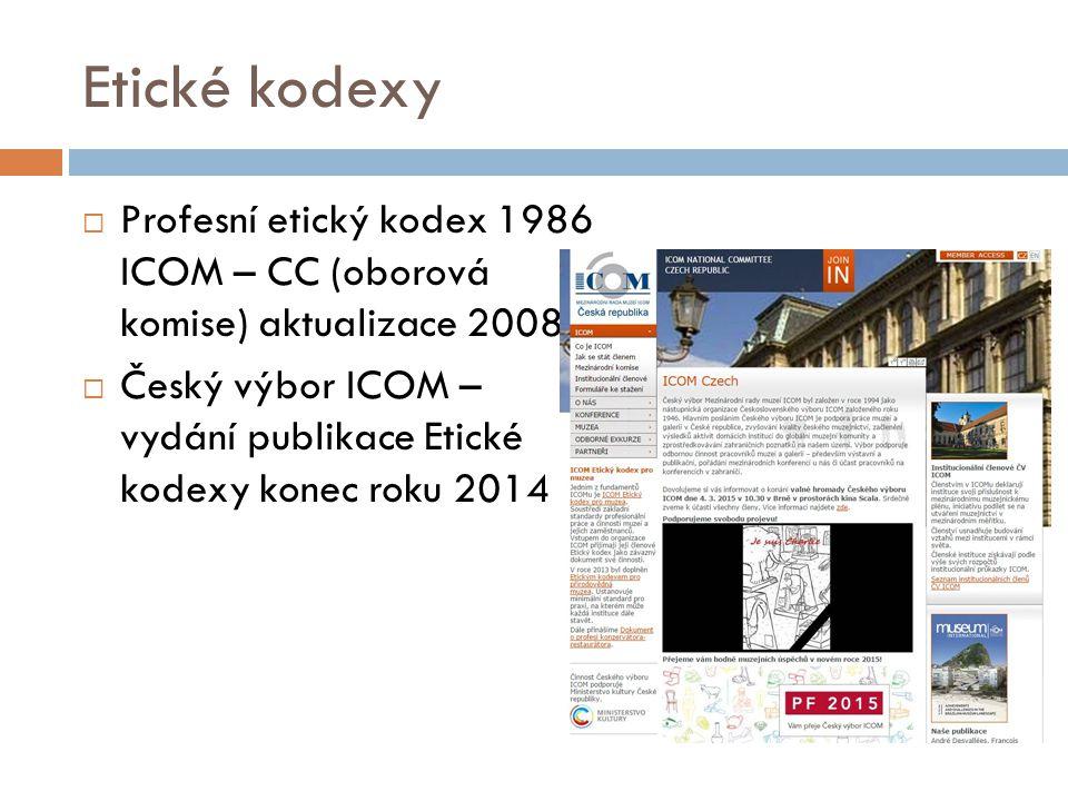 Etické kodexy Profesní etický kodex 1986 ICOM – CC (oborová komise) aktualizace 2008.