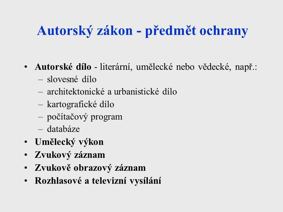 Autorský zákon - předmět ochrany