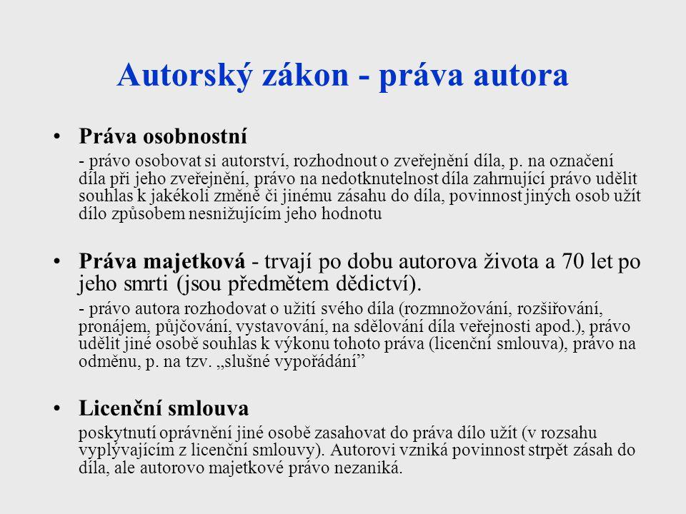 Autorský zákon - práva autora