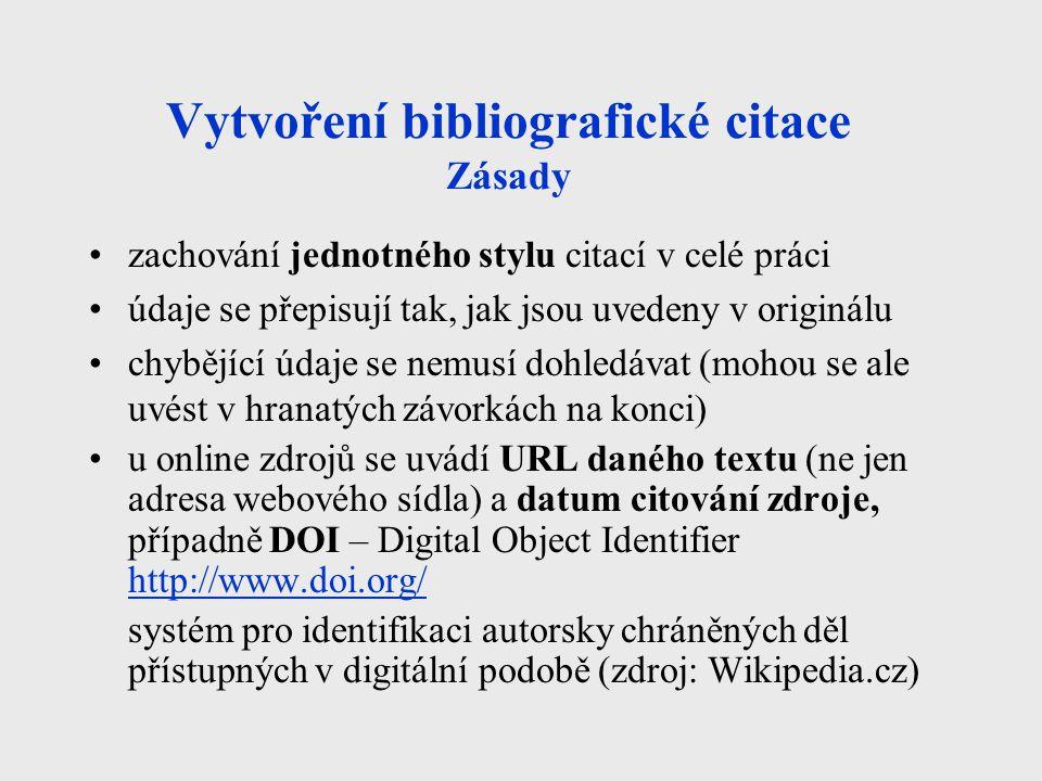 Vytvoření bibliografické citace Zásady