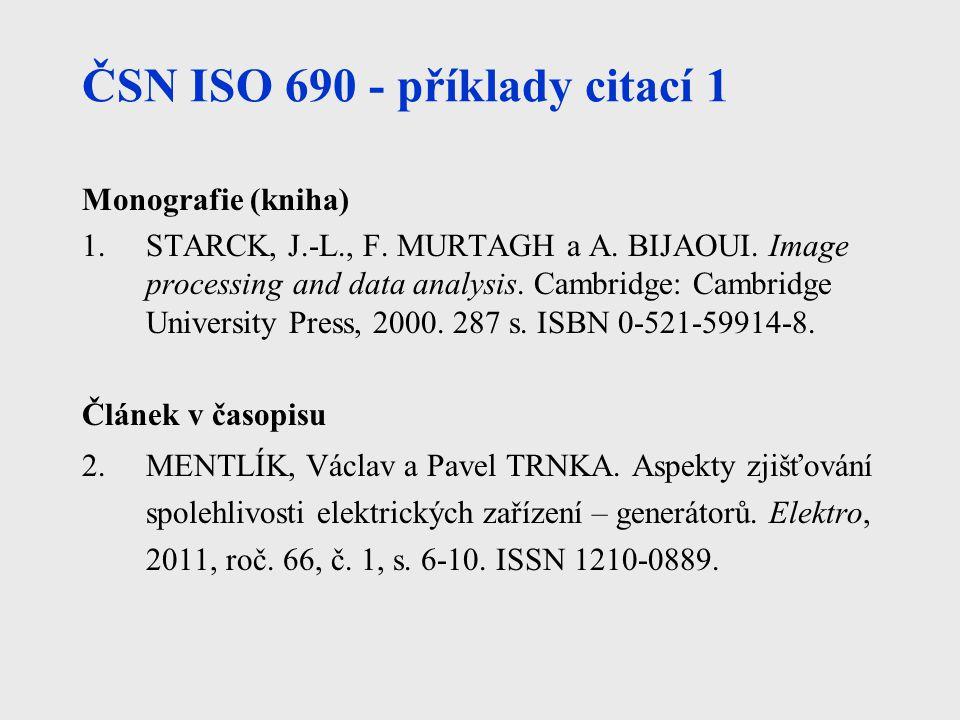 ČSN ISO 690 - příklady citací 1