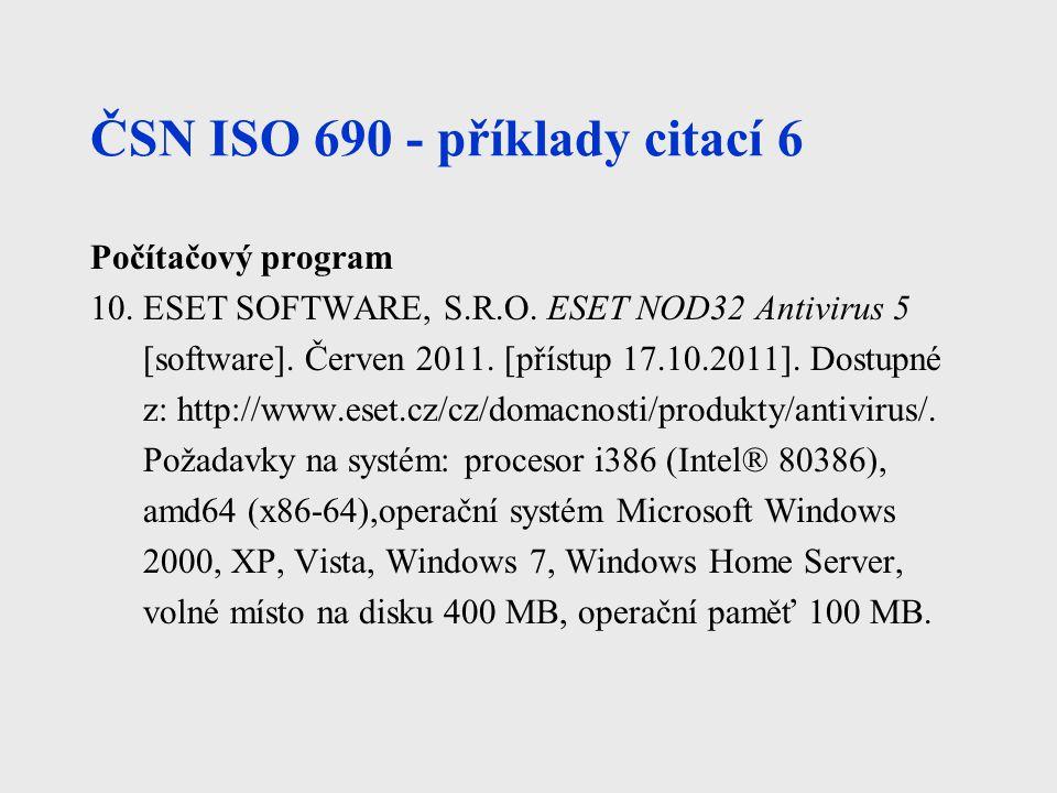 ČSN ISO 690 - příklady citací 6