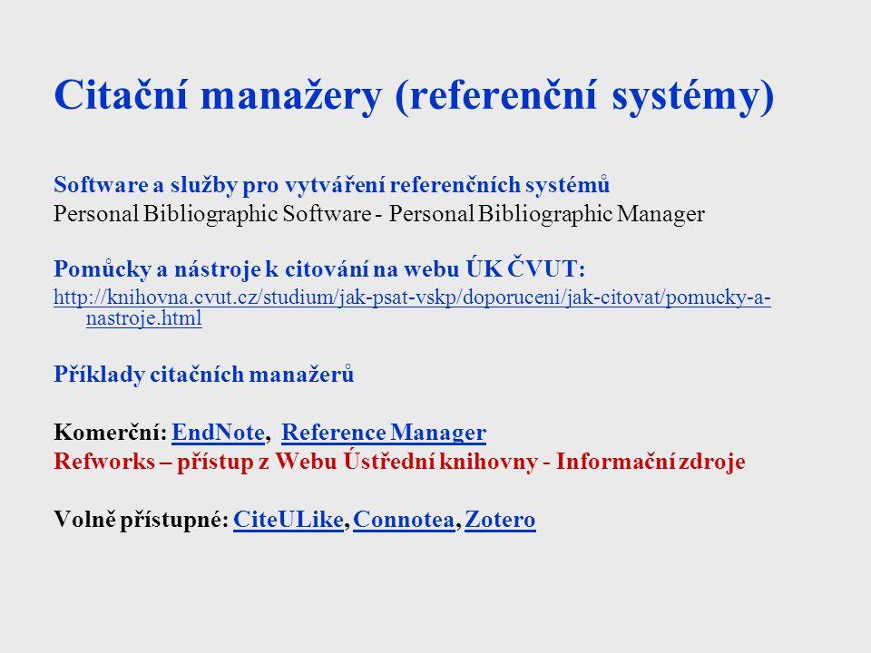 Citační manažery (referenční systémy)