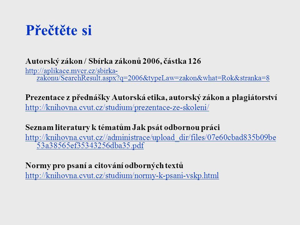 Přečtěte si Autorský zákon / Sbírka zákonů 2006, částka 126