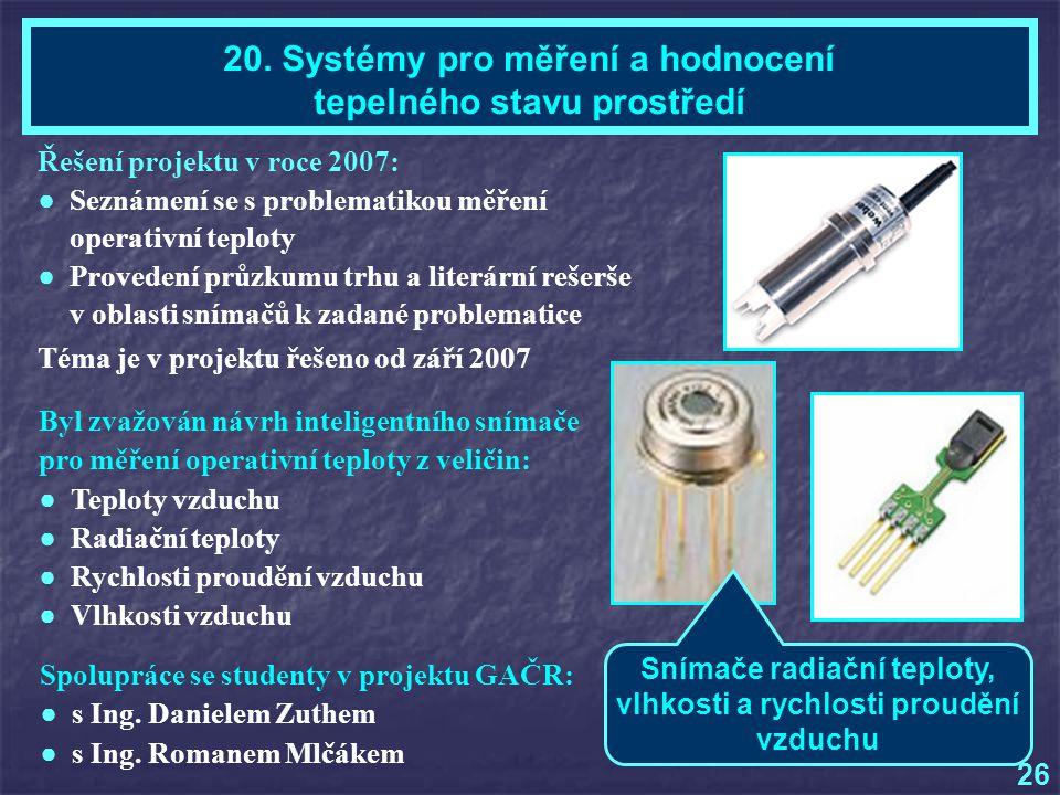 20. Systémy pro měření a hodnocení tepelného stavu prostředí