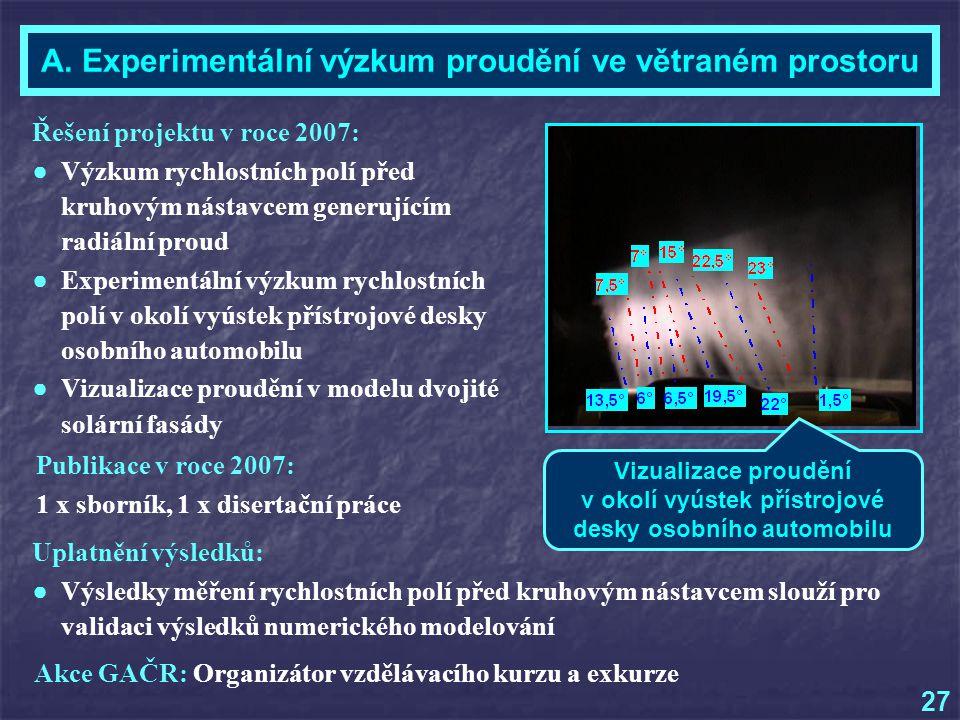 A. Experimentální výzkum proudění ve větraném prostoru