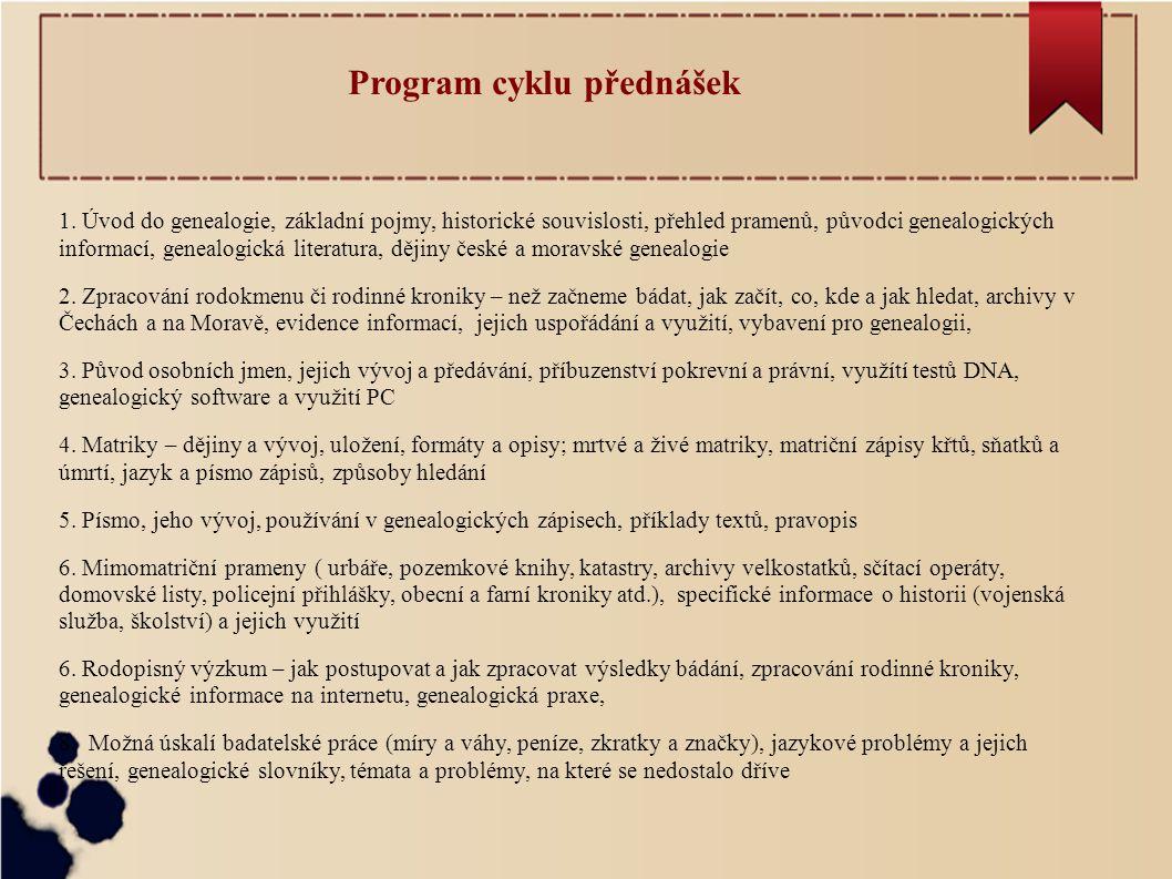 Program cyklu přednášek