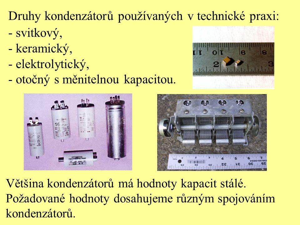 Druhy kondenzátorů používaných v technické praxi: - svitkový,