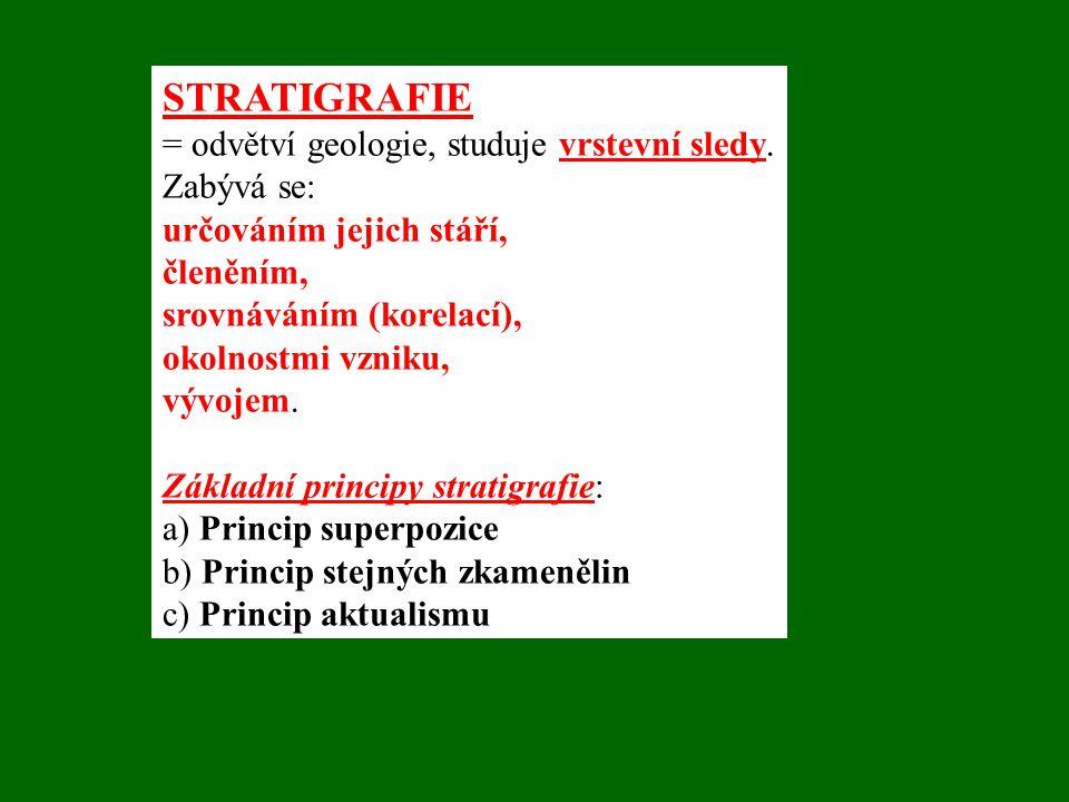 STRATIGRAFIE = odvětví geologie, studuje vrstevní sledy. Zabývá se: