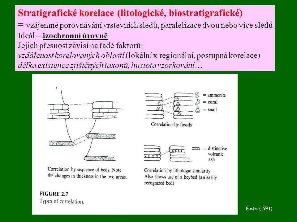 Stratigrafické korelace (litologické, biostratigrafické)