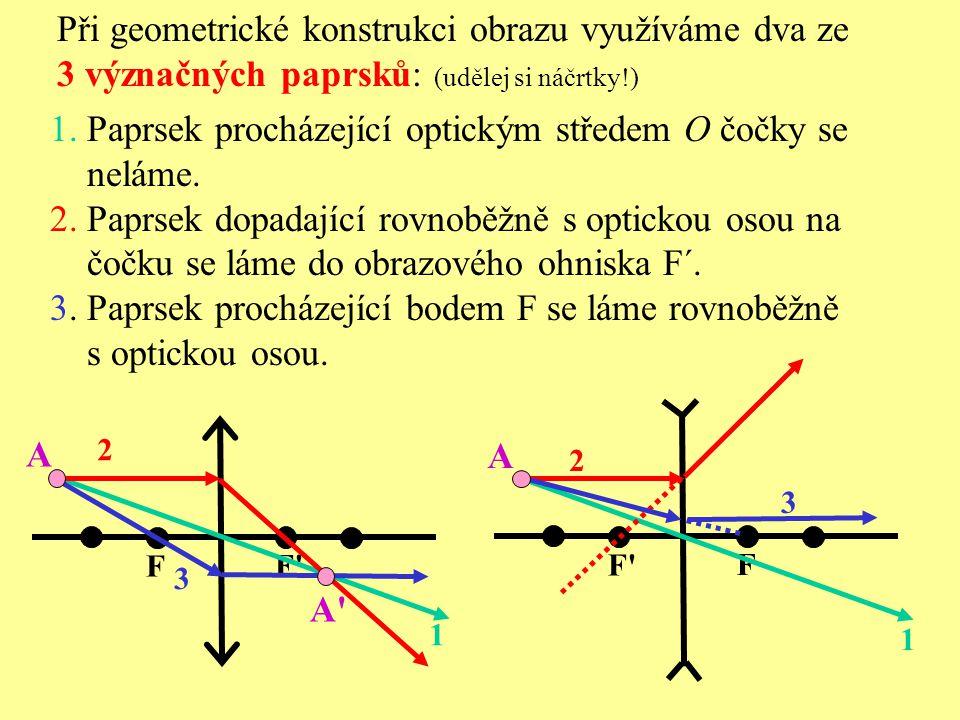 Při geometrické konstrukci obrazu využíváme dva ze