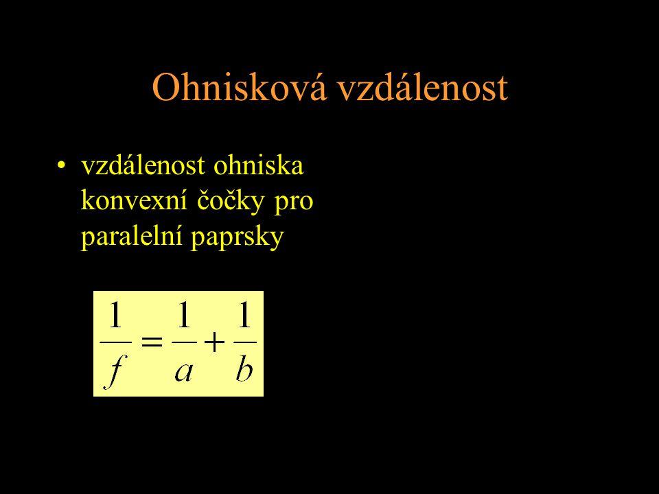 Ohnisková vzdálenost vzdálenost ohniska konvexní čočky pro paralelní paprsky