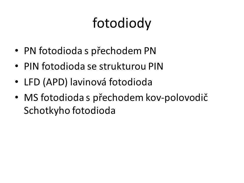 fotodiody PN fotodioda s přechodem PN PIN fotodioda se strukturou PIN