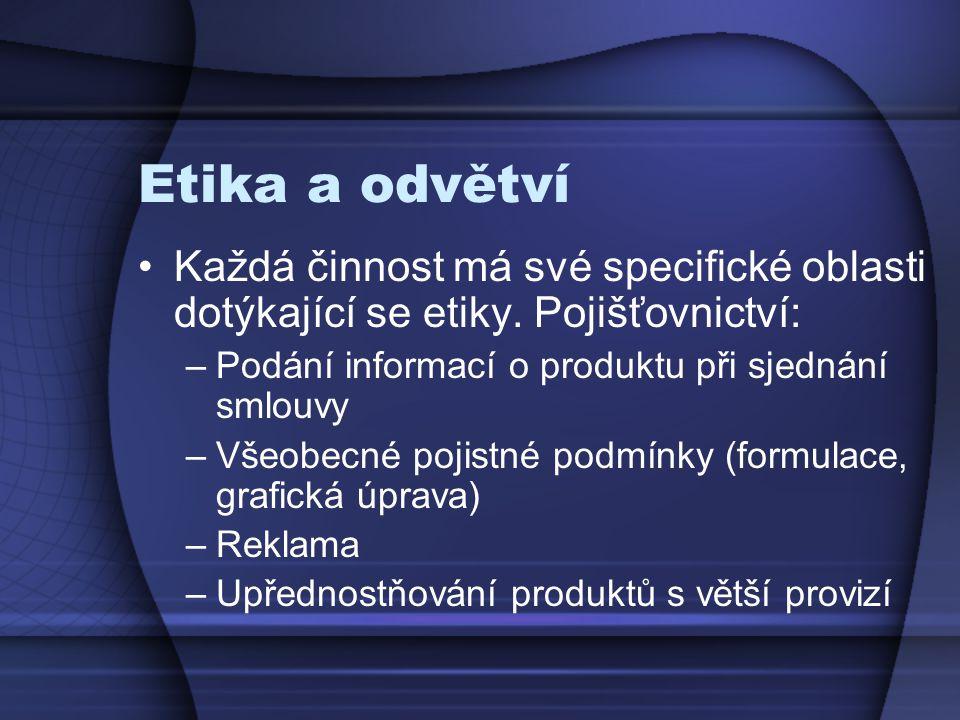 Etika a odvětví Každá činnost má své specifické oblasti dotýkající se etiky. Pojišťovnictví: Podání informací o produktu při sjednání smlouvy.