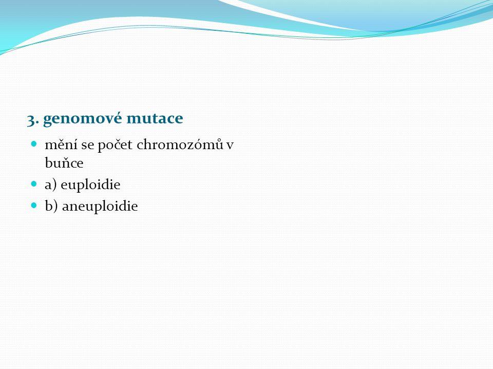 3. genomové mutace mění se počet chromozómů v buňce a) euploidie