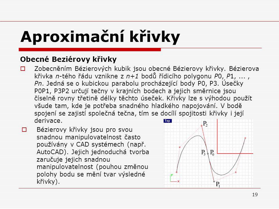 Aproximační křivky Obecné Beziérovy křivky