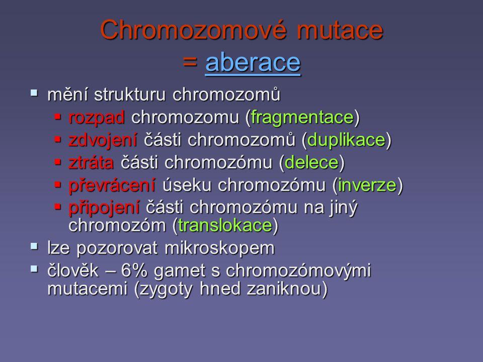 Chromozomové mutace = aberace