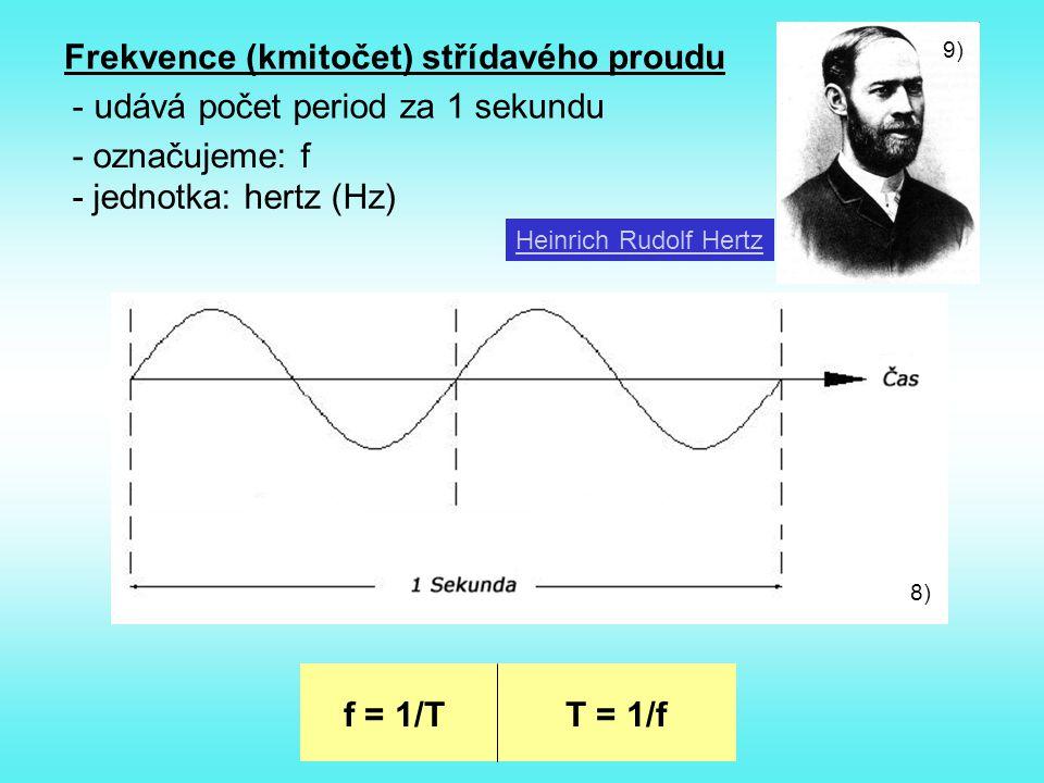 Frekvence (kmitočet) střídavého proudu udává počet period za 1 sekundu