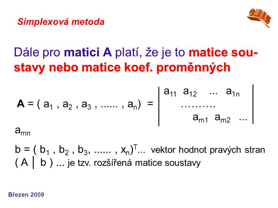 CW05 Simplexová metoda. Dále pro matici A platí, že je to matice sou-stavy nebo matice koef. proměnných.