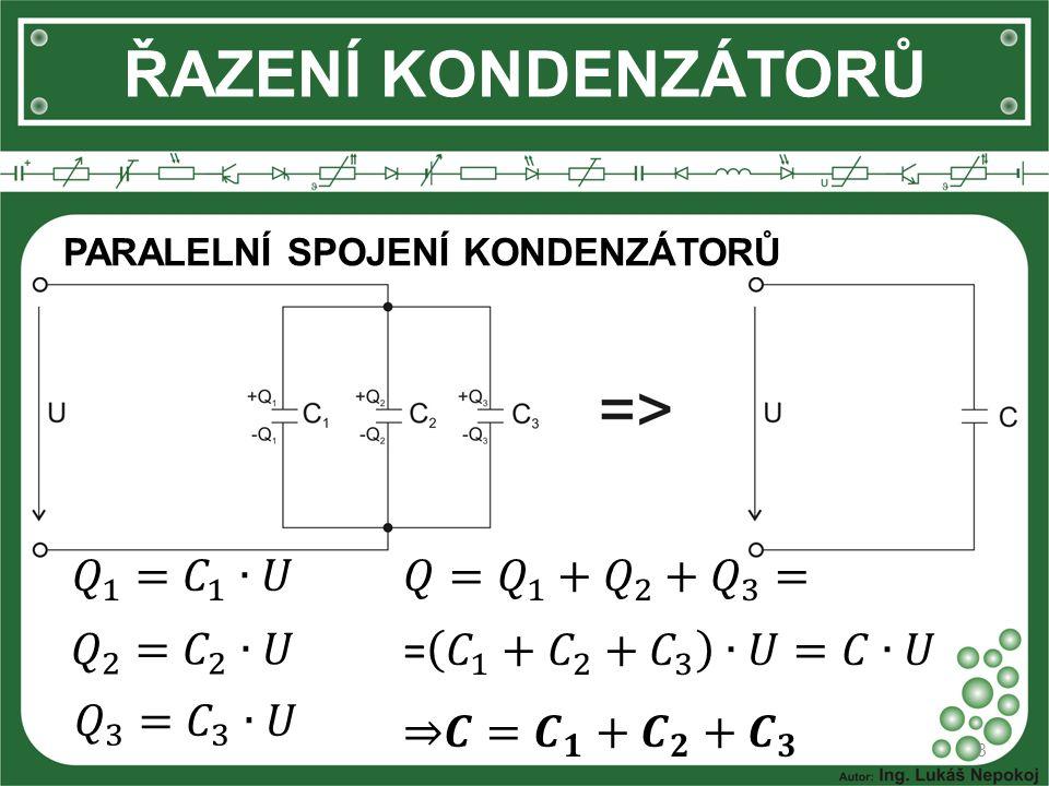 ŘAZENÍ KONDENZÁTORŮ 𝑄 1 = 𝐶 1 ∙𝑈 𝑄= 𝑄 1 + 𝑄 2 + 𝑄 3 = 𝑄 2 = 𝐶 2 ∙𝑈