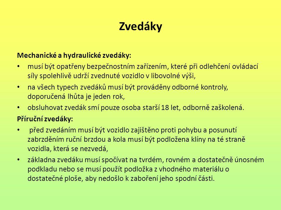 Zvedáky Mechanické a hydraulické zvedáky: