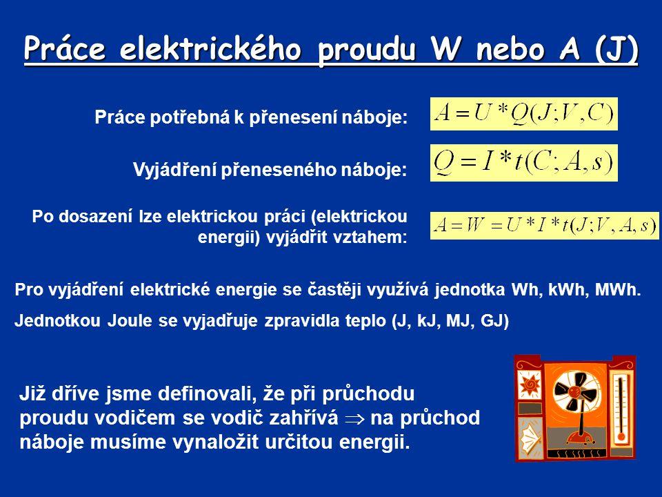 Práce elektrického proudu W nebo A (J)