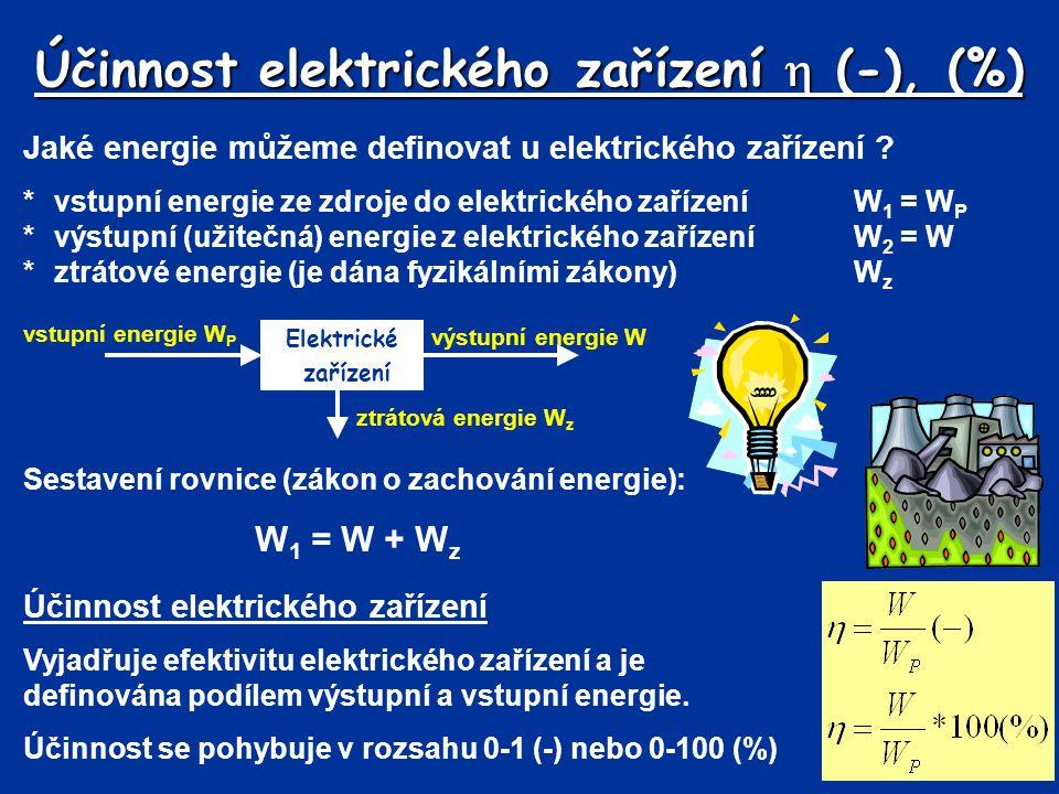 Účinnost elektrického zařízení  (-), (%)