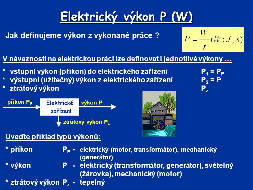 Elektrický výkon P (W) Jak definujeme výkon z vykonané práce