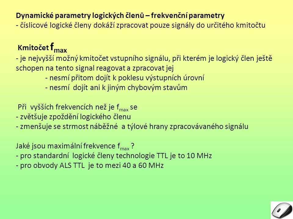 Dynamické parametry logických členů – frekvenční parametry