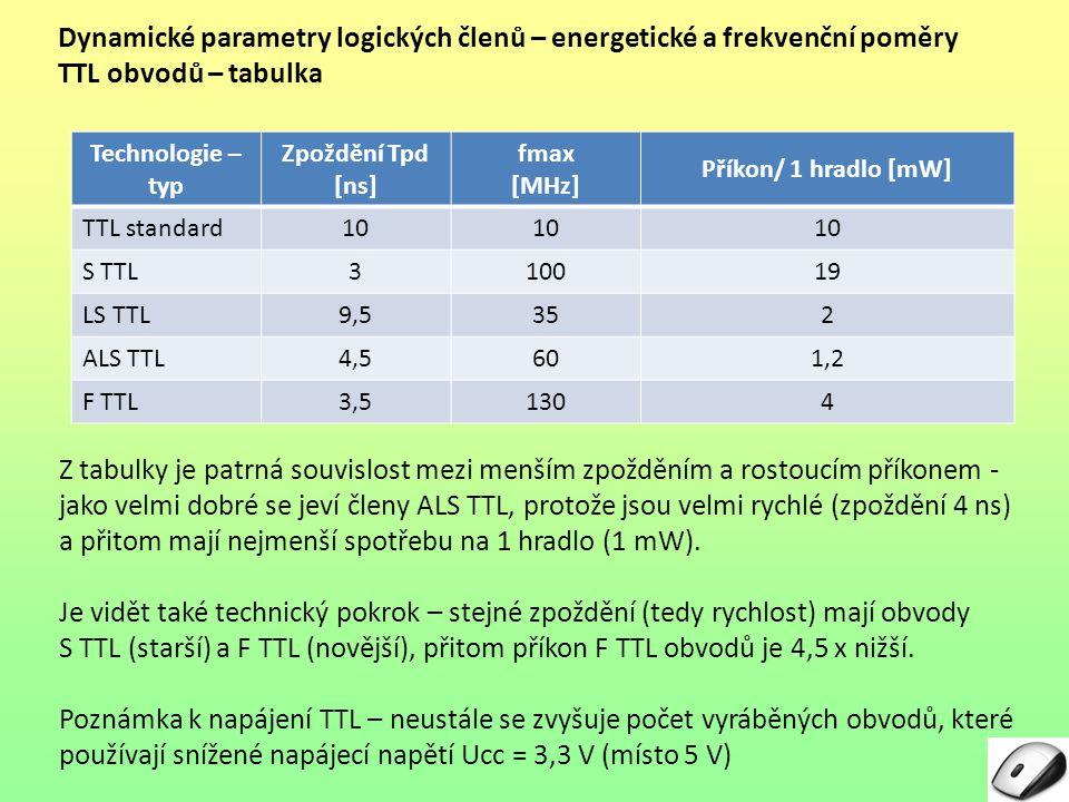 Dynamické parametry logických členů – energetické a frekvenční poměry
