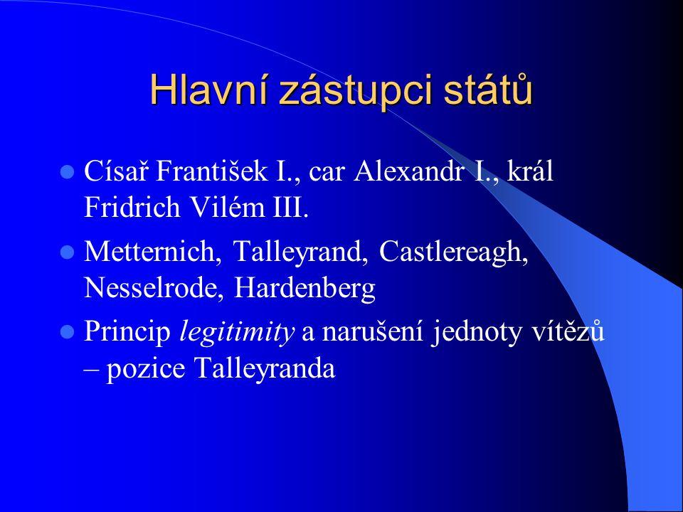 Hlavní zástupci států Císař František I., car Alexandr I., král Fridrich Vilém III. Metternich, Talleyrand, Castlereagh, Nesselrode, Hardenberg.