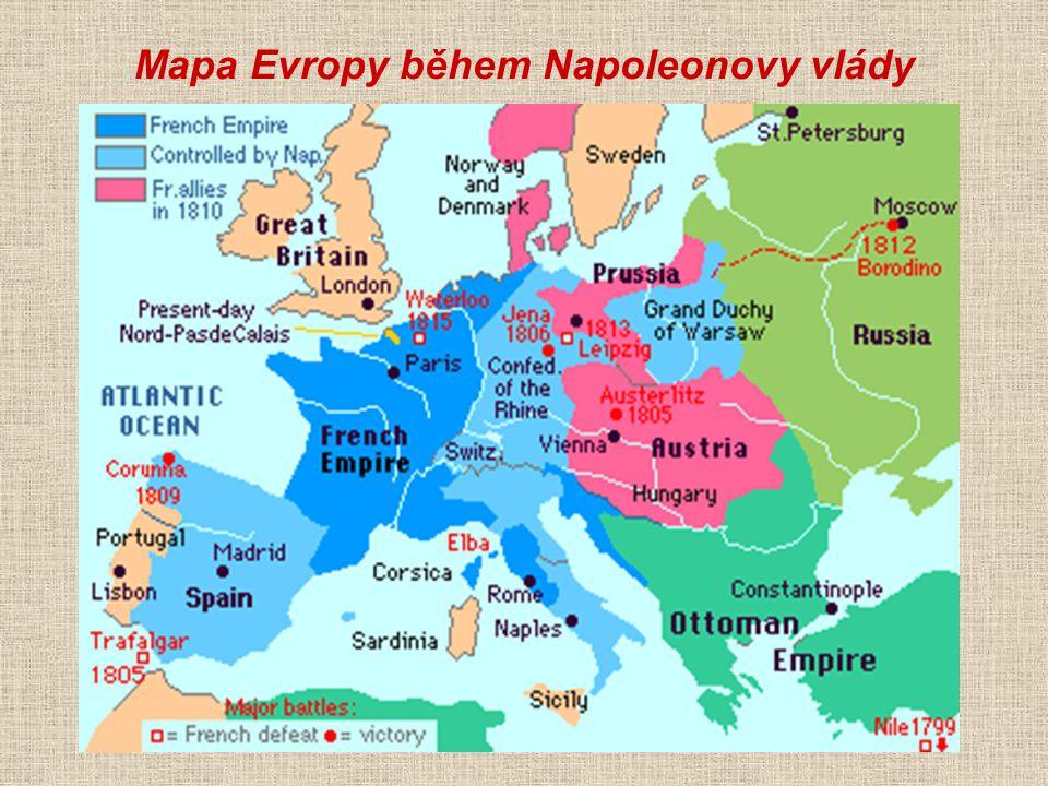 Mapa Evropy během Napoleonovy vlády