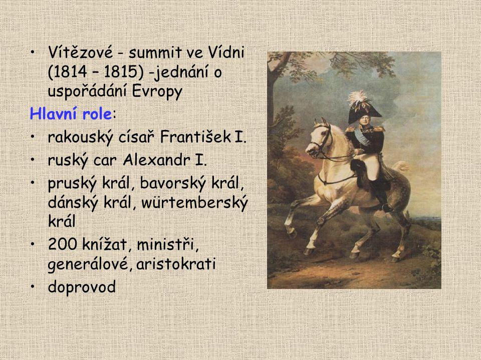 Vítězové - summit ve Vídni (1814 – 1815) -jednání o uspořádání Evropy