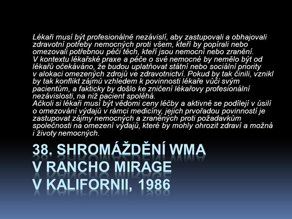 38. Shromáždění WMA v Rancho Mirage v Kalifornii, 1986