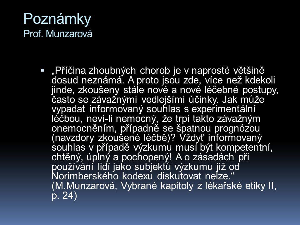 Poznámky Prof. Munzarová