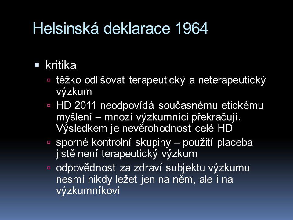 Helsinská deklarace 1964 kritika