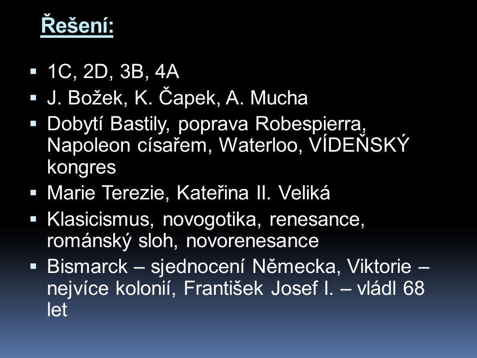 Řešení: 1C, 2D, 3B, 4A J. Božek, K. Čapek, A. Mucha