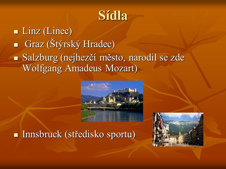 Sídla Linz (Linec) Graz (Štýrský Hradec)