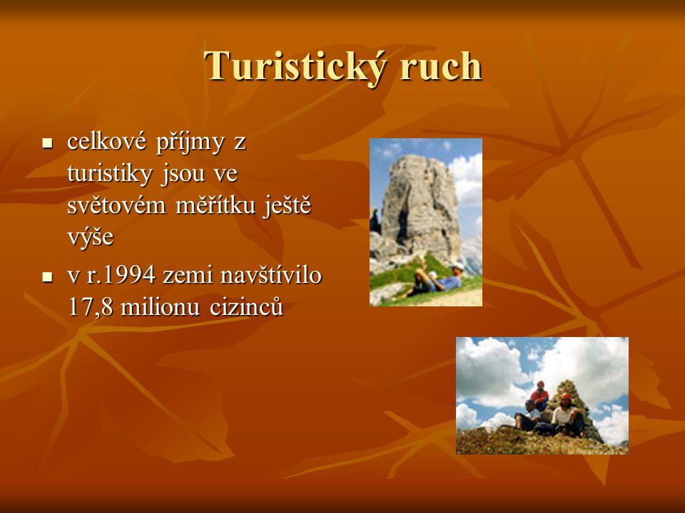 Turistický ruch celkové příjmy z turistiky jsou ve světovém měřítku ještě výše.