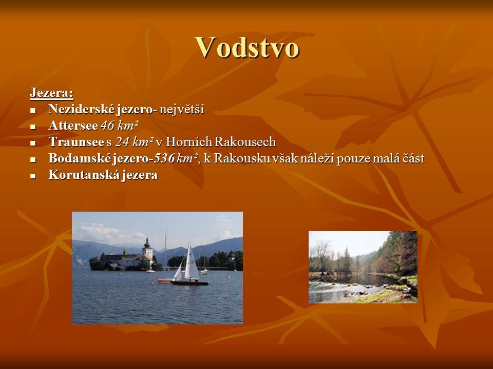 Vodstvo Jezera: Neziderské jezero- největší Attersee 46 km²