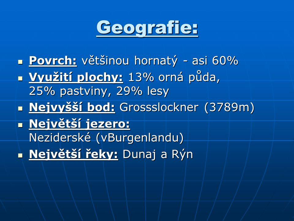 Geografie: Povrch: většinou hornatý - asi 60%