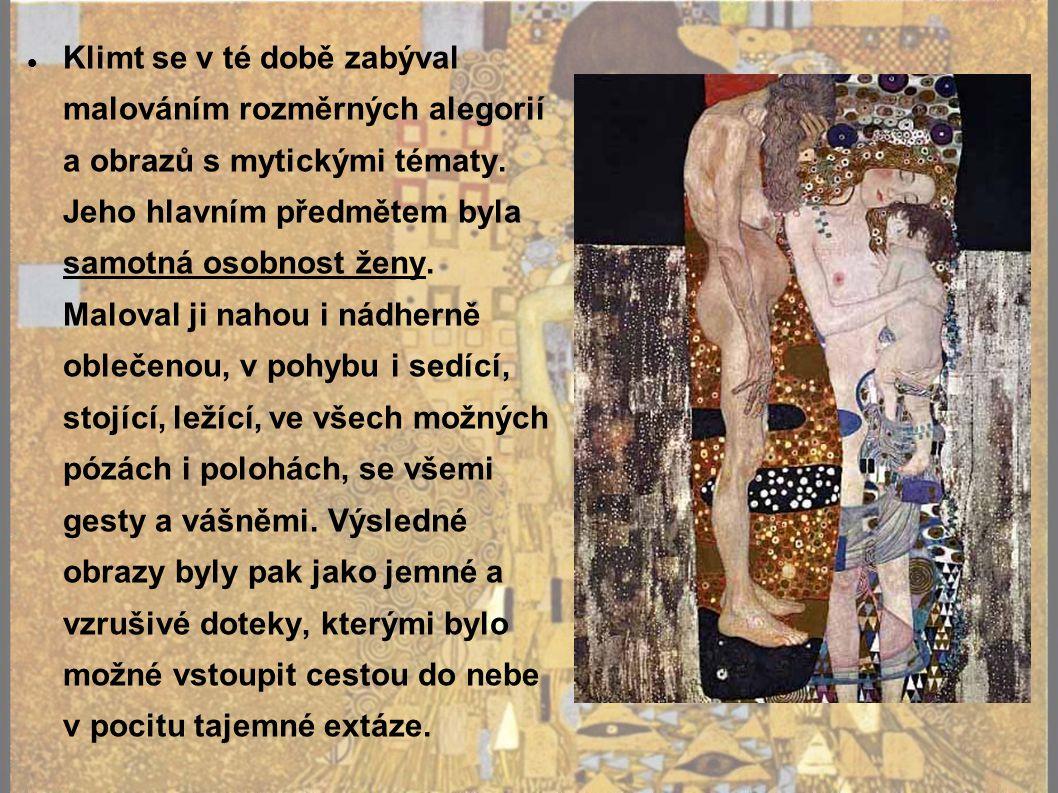 Klimt se v té době zabýval malováním rozměrných alegorií a obrazů s mytickými tématy.