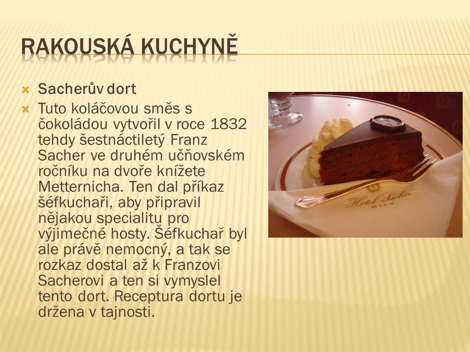Rakouská kuchyně Sacherův dort