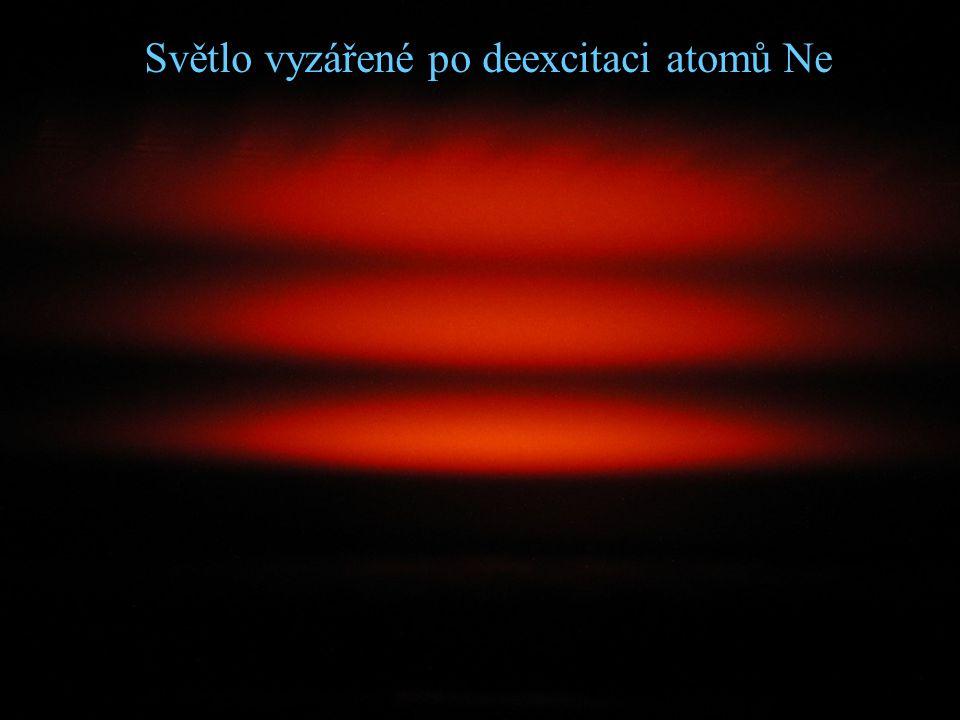 Světlo vyzářené po deexcitaci atomů Ne