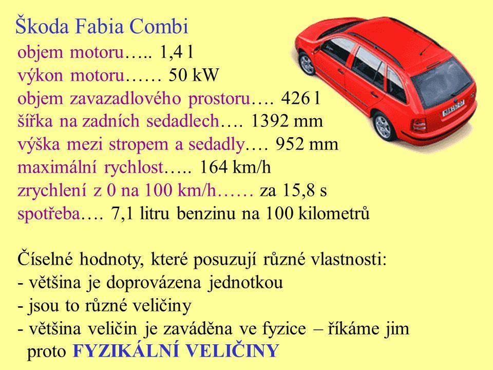 Škoda Fabia Combi objem motoru….. 1,4 l výkon motoru…… 50 kW