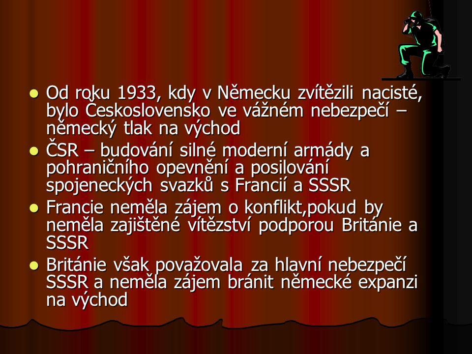Od roku 1933, kdy v Německu zvítězili nacisté, bylo Československo ve vážném nebezpečí – německý tlak na východ