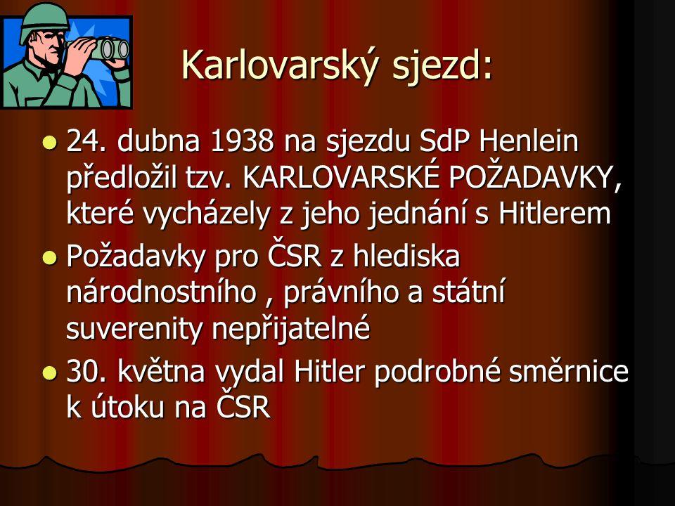 Karlovarský sjezd: 24. dubna 1938 na sjezdu SdP Henlein předložil tzv. KARLOVARSKÉ POŽADAVKY, které vycházely z jeho jednání s Hitlerem.