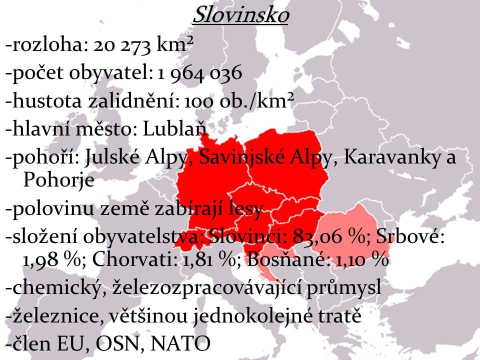 Slovinsko -rozloha: 20 273 km² -počet obyvatel: 1 964 036