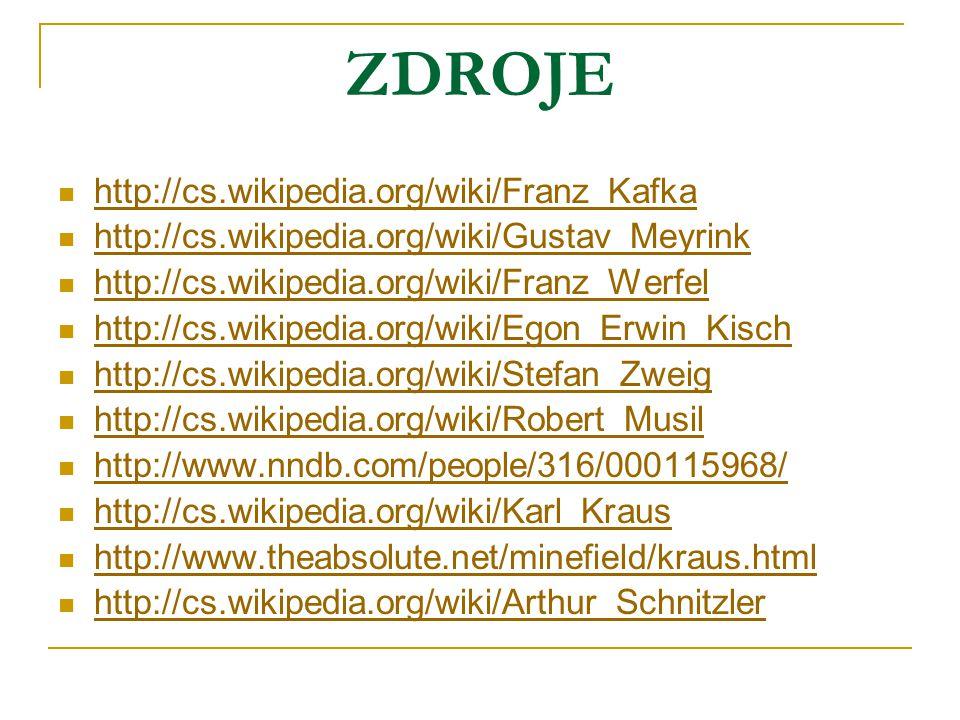 ZDROJE http://cs.wikipedia.org/wiki/Franz_Kafka