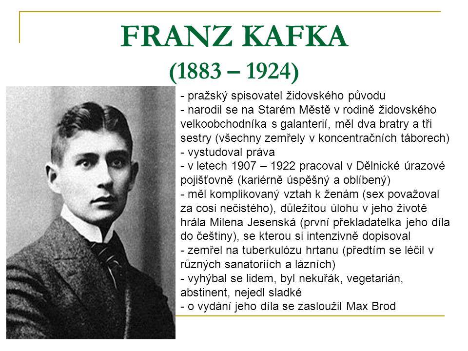 FRANZ KAFKA (1883 – 1924) pražský spisovatel židovského původu